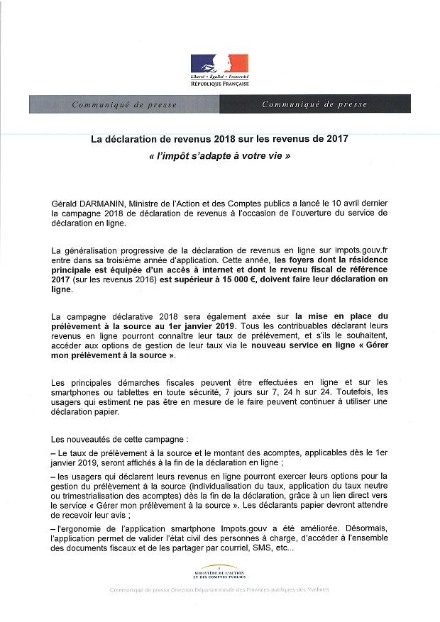 Declaration De Revenus 2018